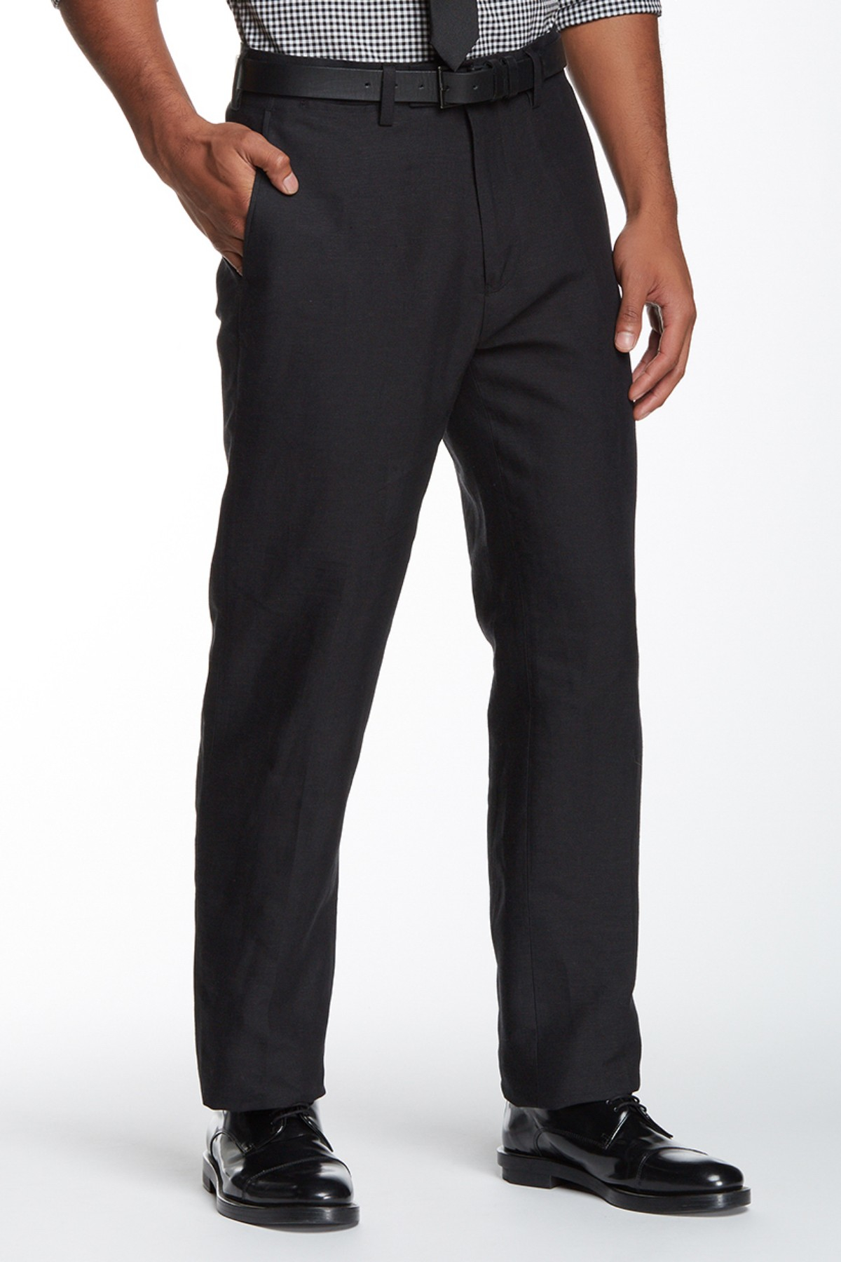 Louis Raphael Solid Straight Fit Flat Front Pant 30 34