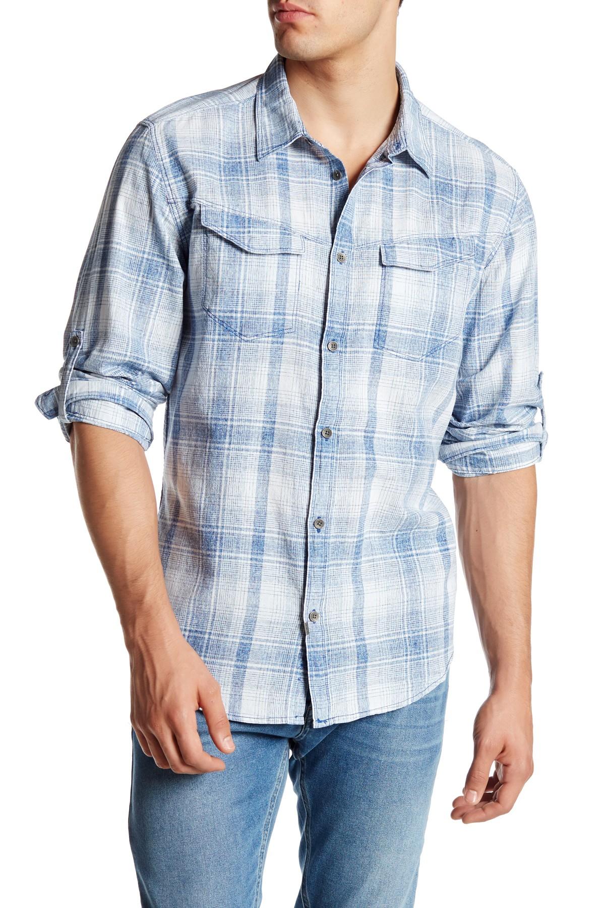 Calvin Klein Jeans Trim Fit Plaid Roll Tab Shirt In Blue