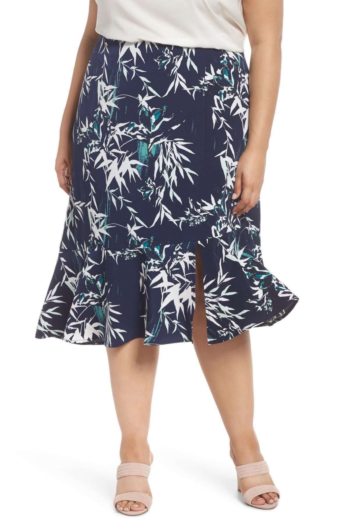 df2732f260 Lyst - Sejour Slit Hem Skirt (plus Size) in Blue - Save 81%