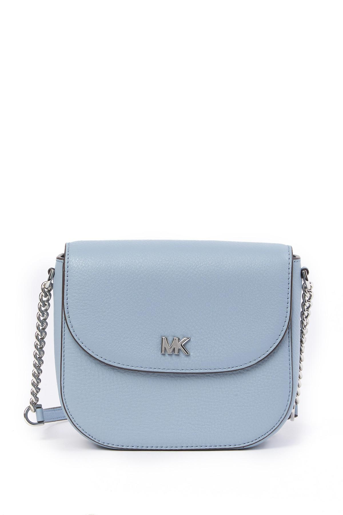 8f70fcef927a86 Lyst - Michael Michael Kors Half Dome Leather Crossbody Bag in Blue