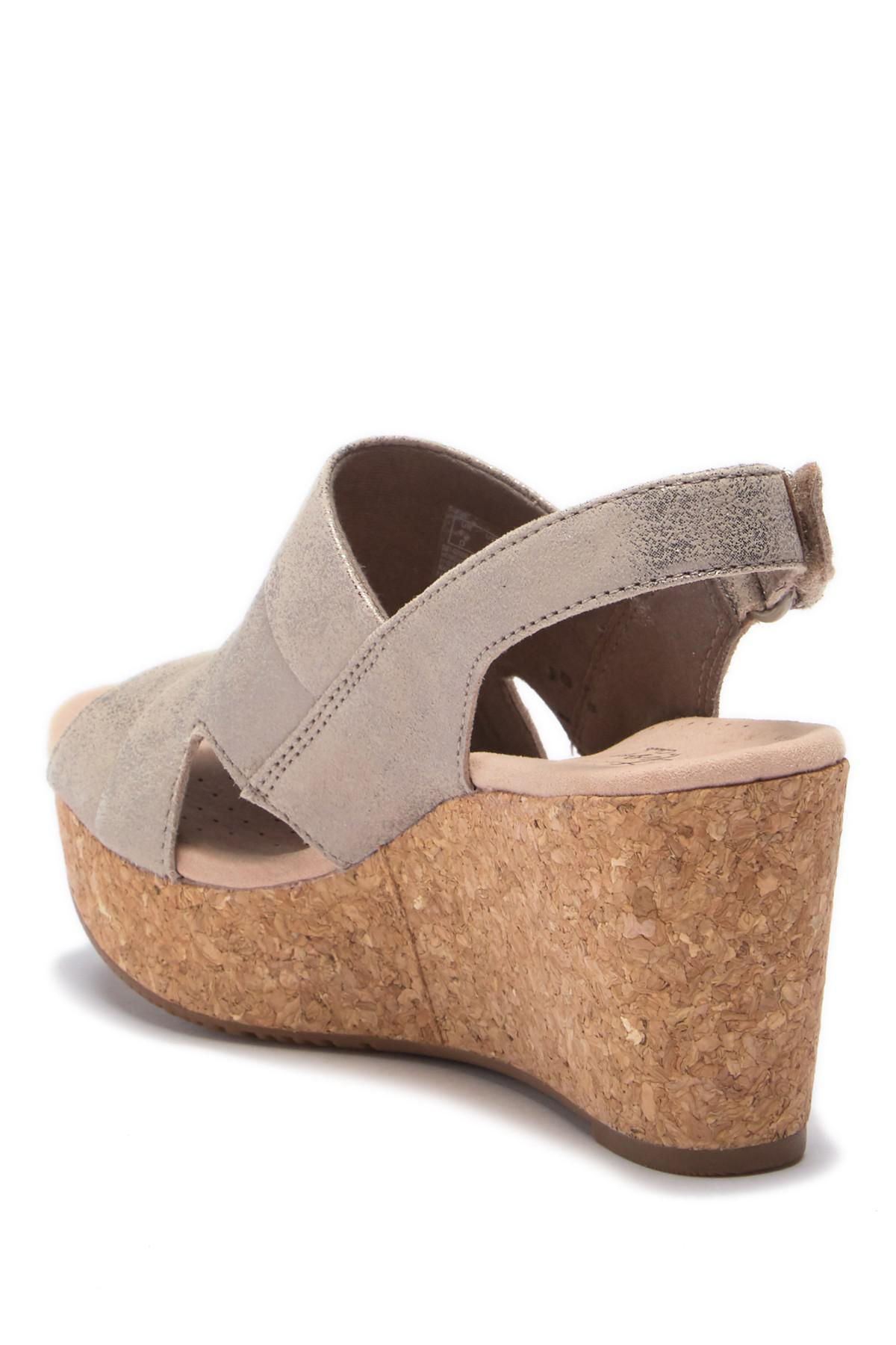 8f09c5c9486 Lyst - Clarks Annadel Ivory Wedge Sandal - Wide Widths Available in ...