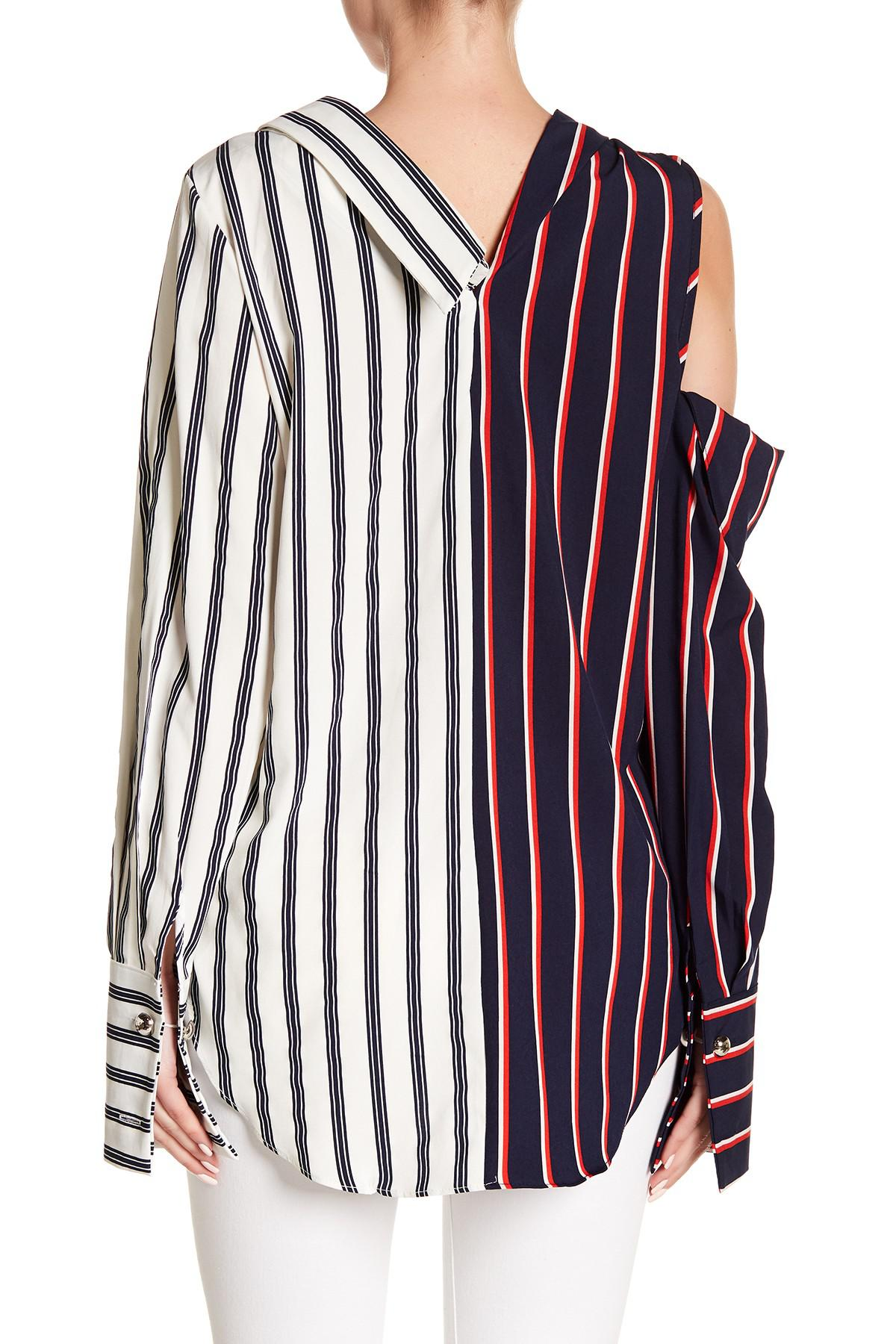 3a338ce8ae92f0 Lyst - Haute Rogue Asymmetrical Two-tone Striped Cold Shoulder Top ...