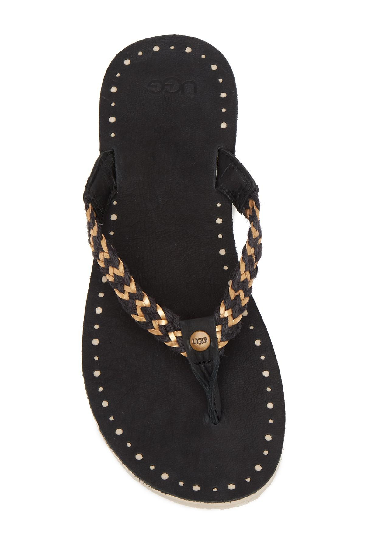 f0c52c2c460 Ugg Black Navie Ii Braided Jute Leather Sandal