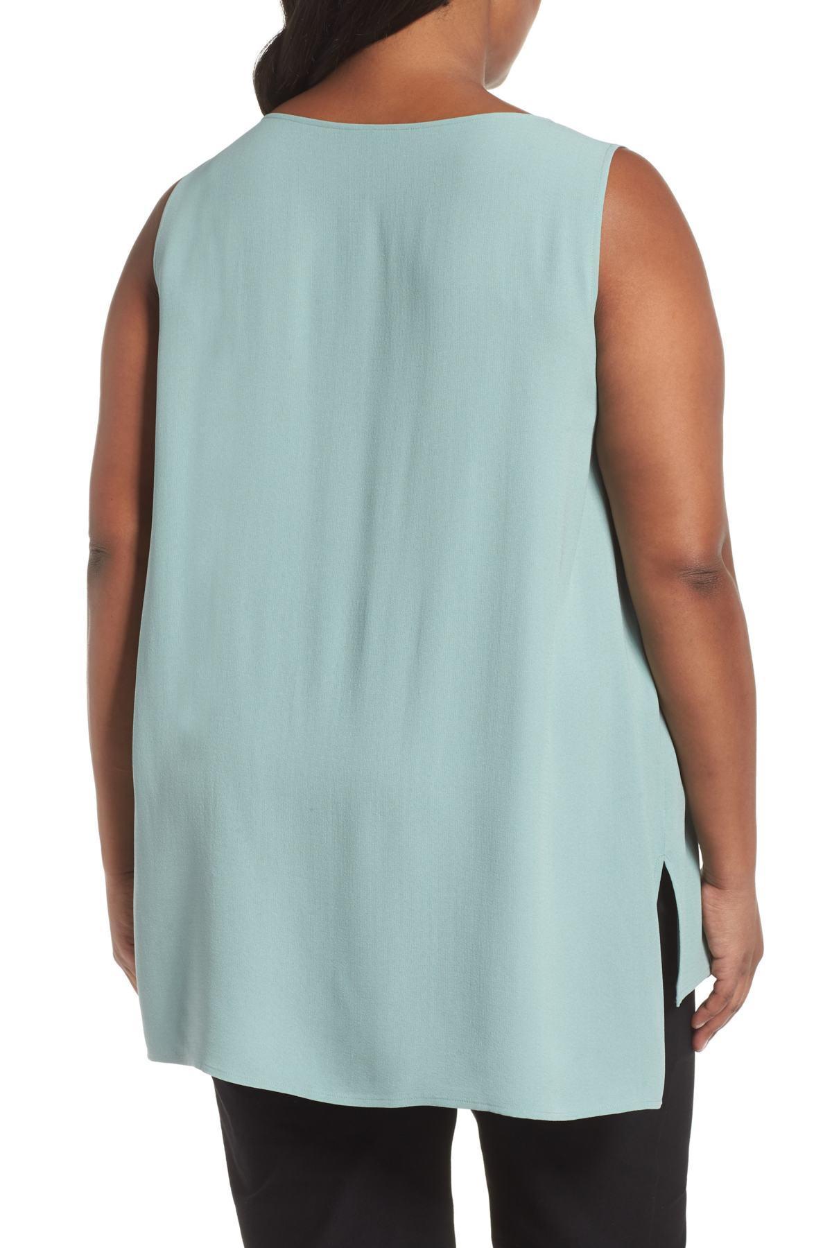 91df99318906a Eileen Fisher - Blue Bateau Neck Long Silk Shell (plus Size) - Lyst. View  fullscreen