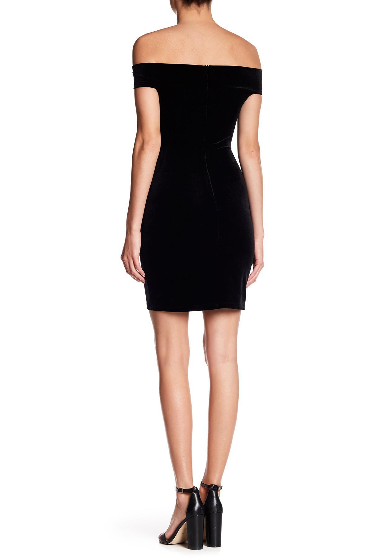 3892690549 Lyst - French Connection Lula Velvet Off-the-shoulder Dress in Black