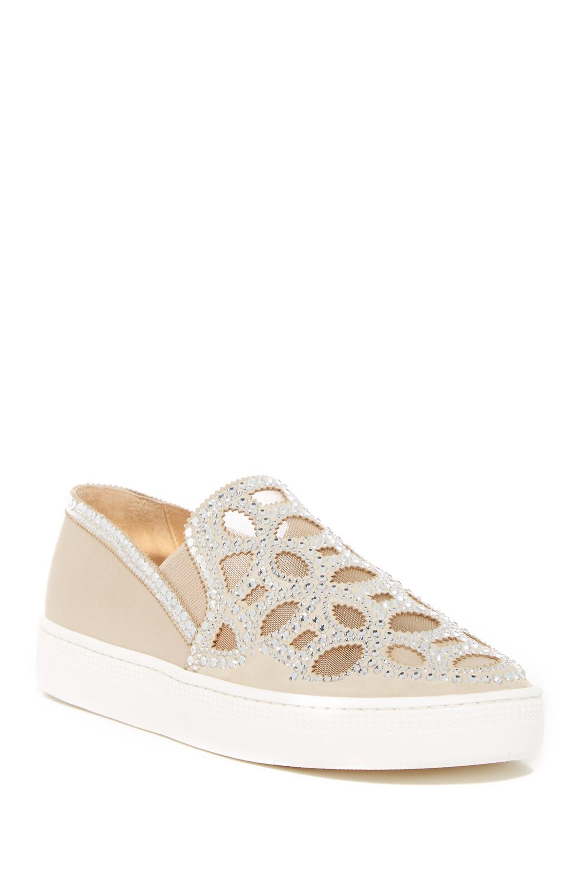 Badgley Mischka Shani Embellished Satin Slip-On Sneaker cwqgsEvHT