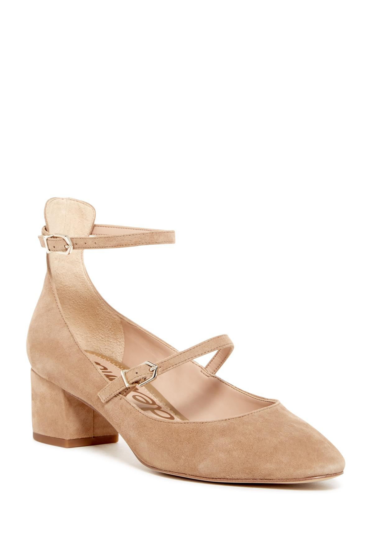 f0fcc5b4a819 Lyst - Sam Edelman Lulie Suede Ankle Strap Pump in Natural