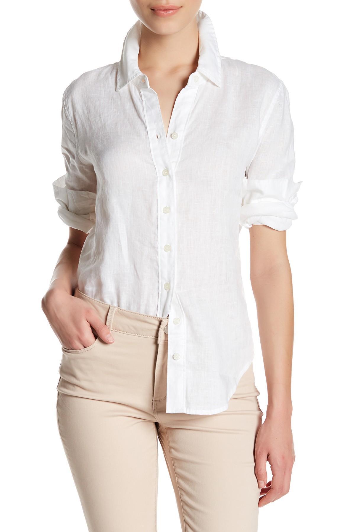 Lyst workshop long sleeve linen button up shirt petite for Long linen shirts for womens