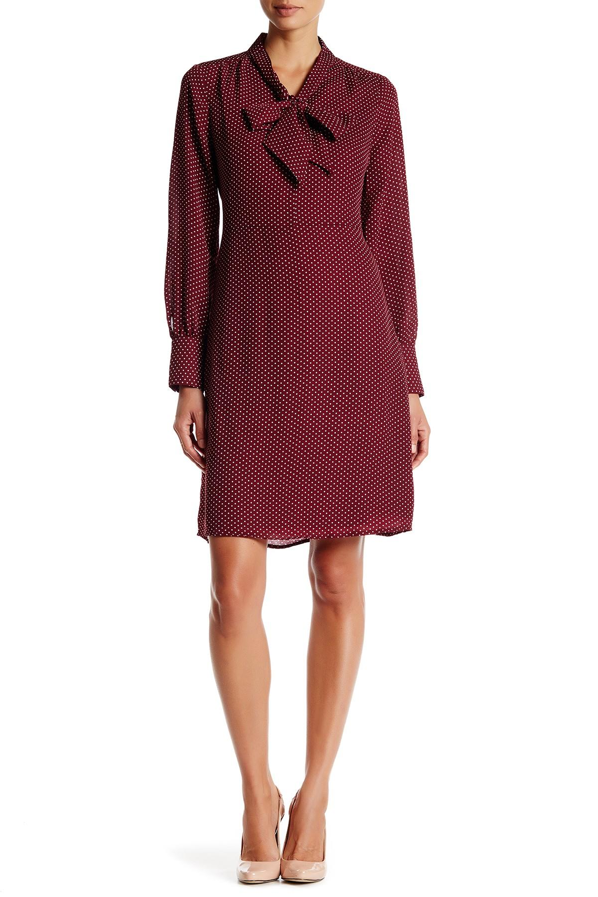 Lands End Dot Bow Dress In Red Lyst