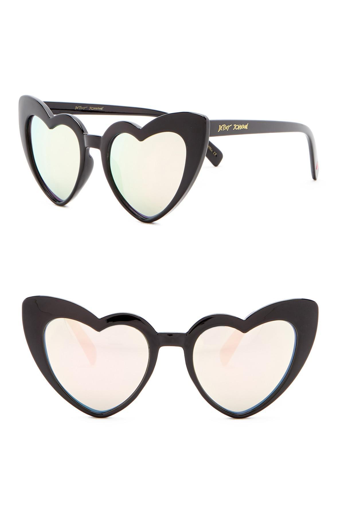 342fe865a7 Lyst - Betsey Johnson 52mm Heart Cat Eye Sunglasses in Black