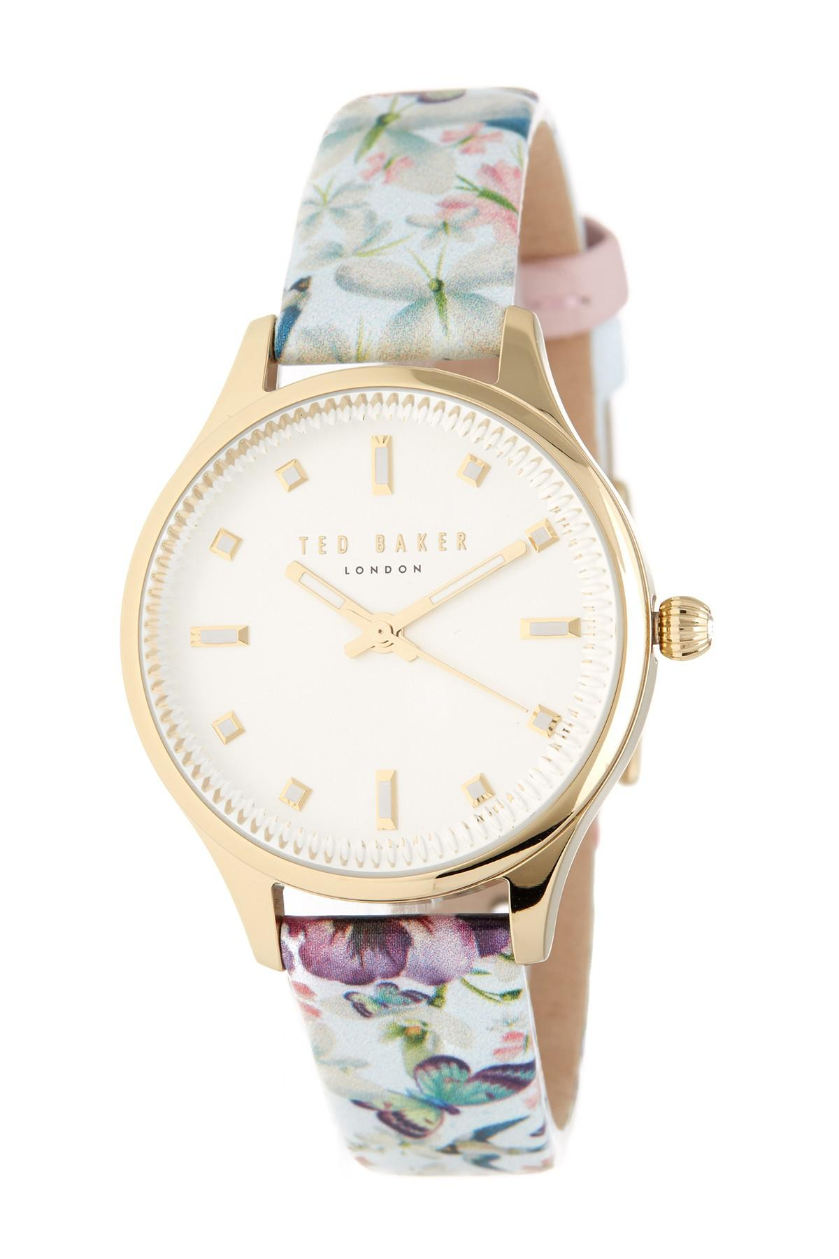 7c09e2ef3 Lyst - Ted Baker Women s Zoe Printed Leather Strap Watch