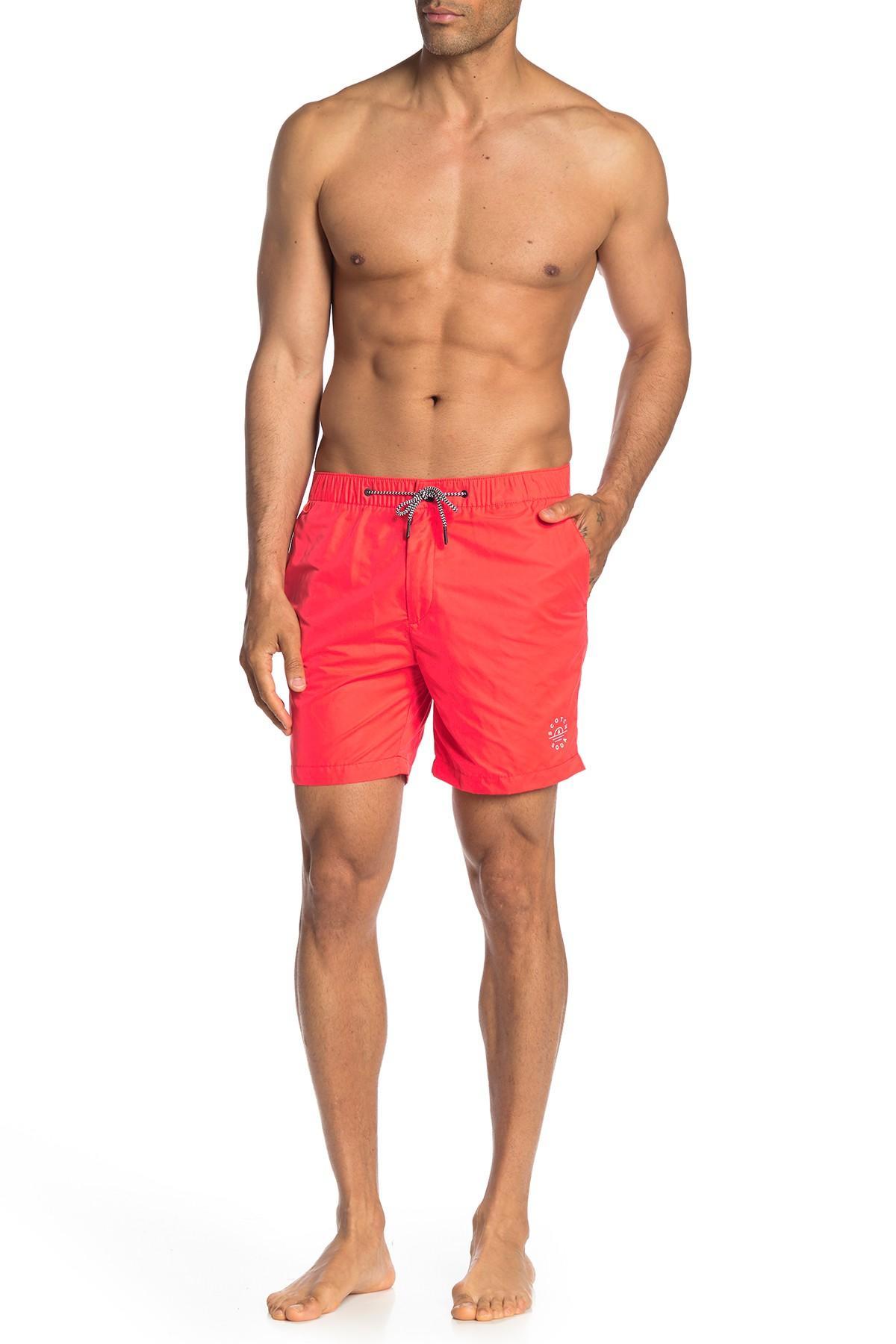 0ff88bc883 Scotch & Soda - Red Zip Fly Swim Shorts for Men - Lyst. View fullscreen