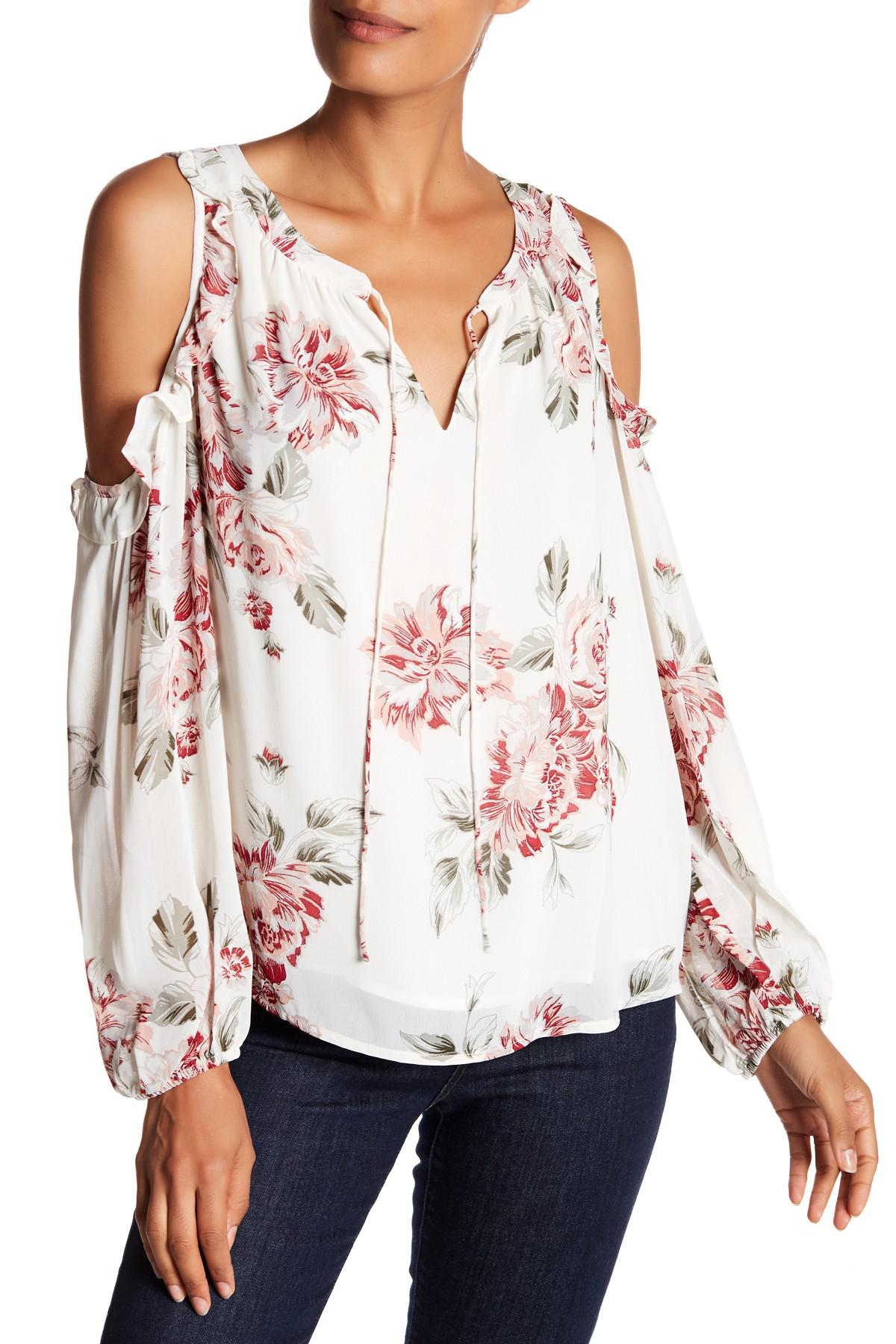 573cd1ab86448 Lyst - Sanctuary Blaire Floral Cold-shoulder Top
