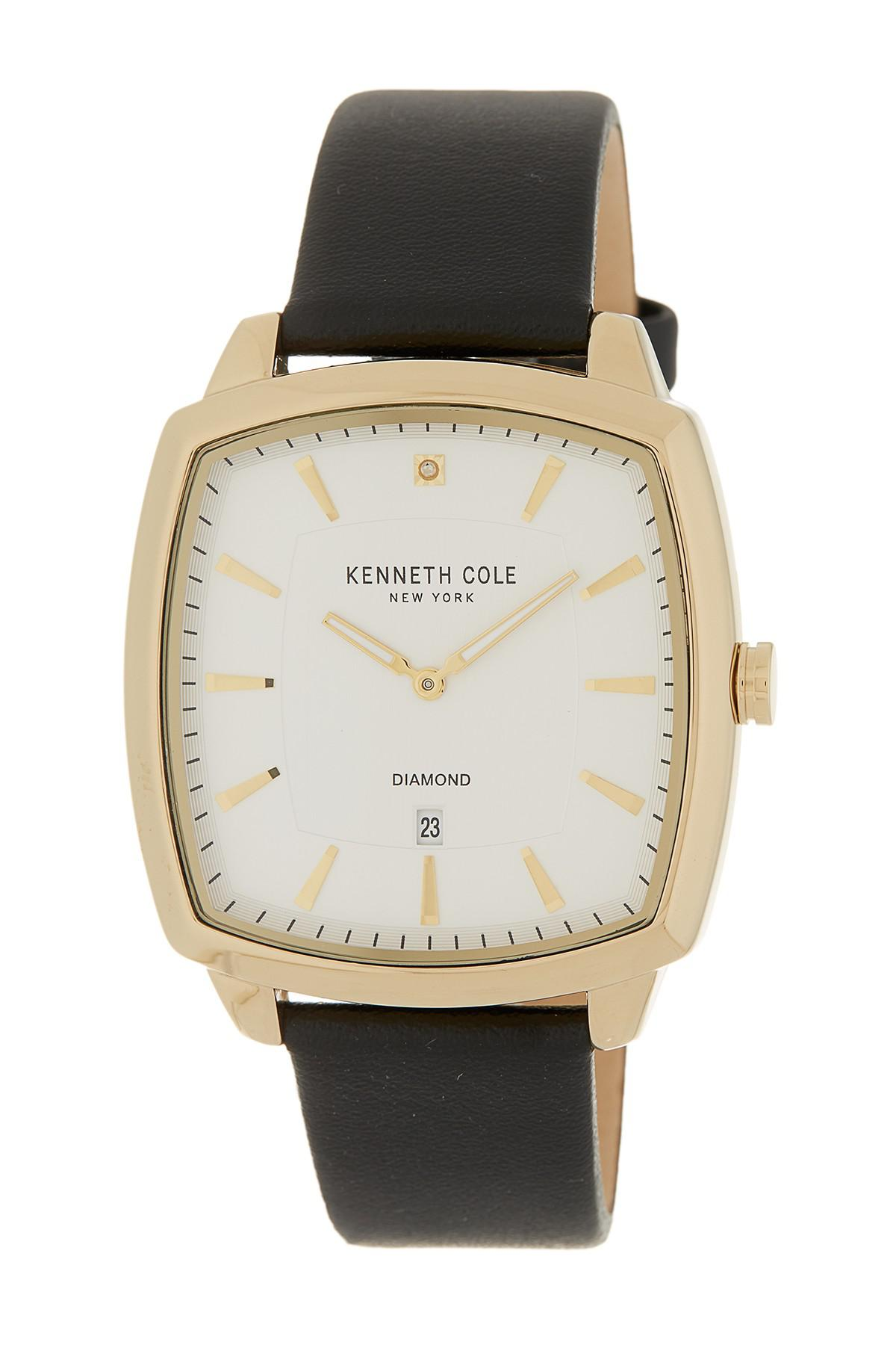 b5929ef7fba Lyst - Kenneth Cole Men s 2-hand Date Leather Strap Watch