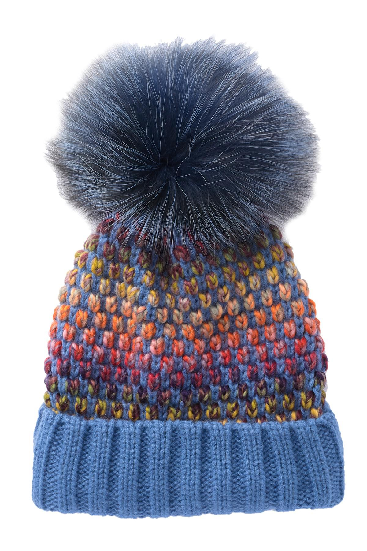 7e8c5338ce2a8 Lyst - Kyi Kyi Genuine Fox Fur Pompom Multi Knit Beanie in Blue