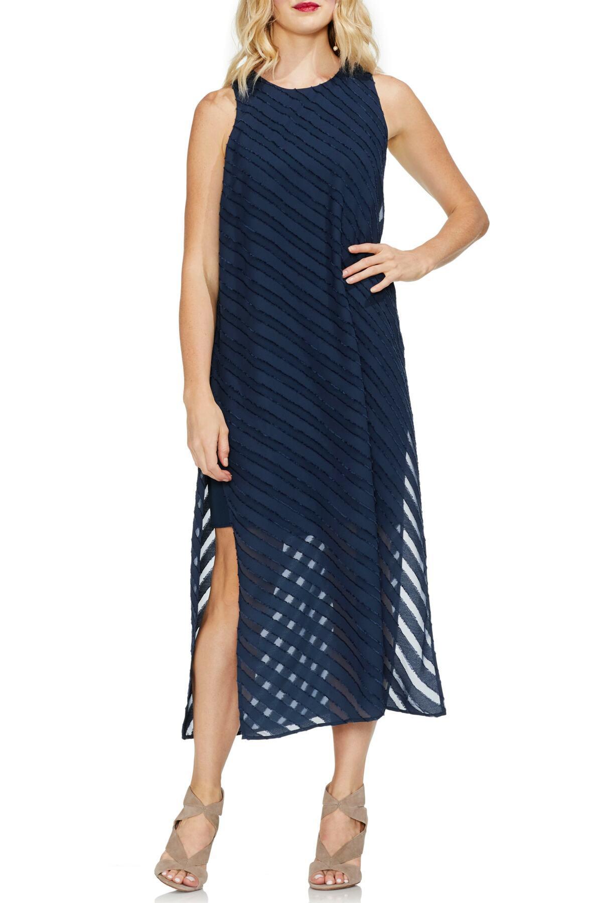 735f3fe0f26 Lyst - Vince Camuto Diagonal Stripe Chiffon Maxi Dress in Blue