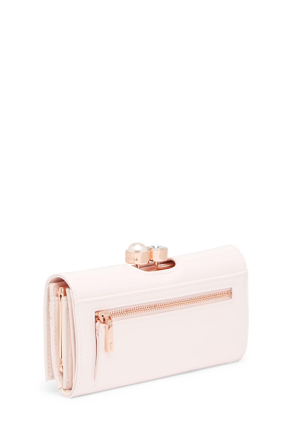66987e20cae61 Lyst - Ted Baker Cecilie Pearl Bobble Patent Matinee Wallet in Pink