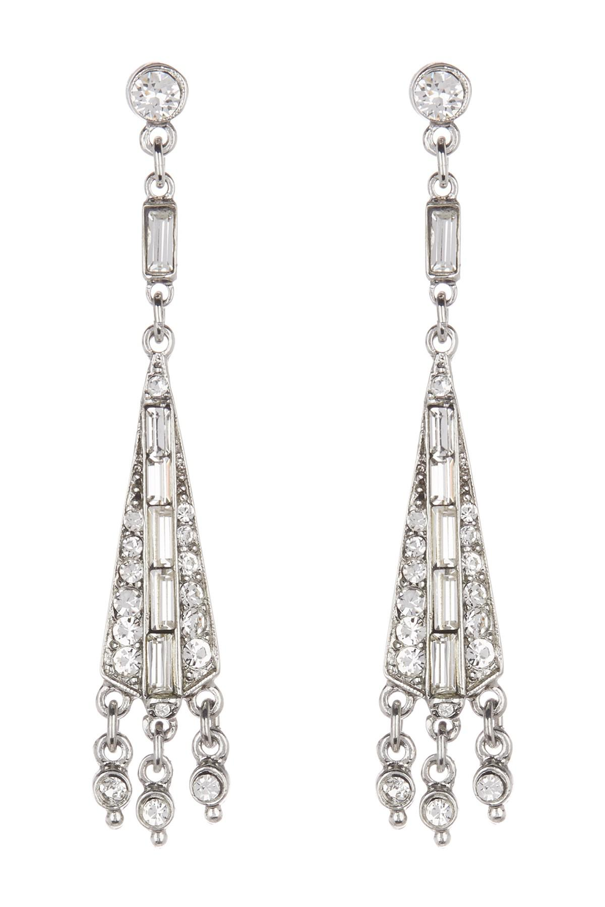Ben-Amun Deco Chandelier Crystal Drop Earrings PYwyv2YN