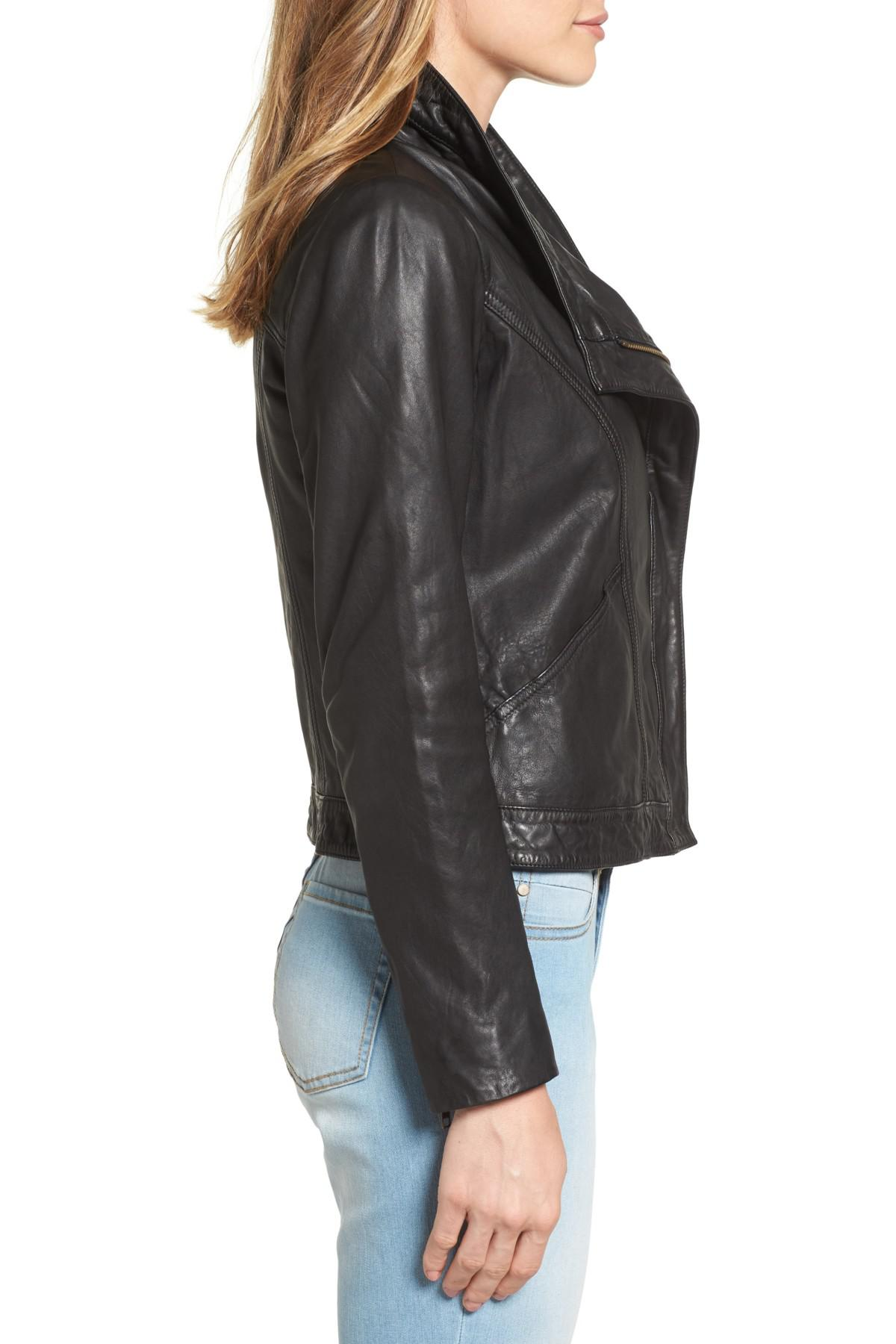 cccc9351aaa15 Lyst - Caslon (r) Leather Jacket (regular   Petite) in Black