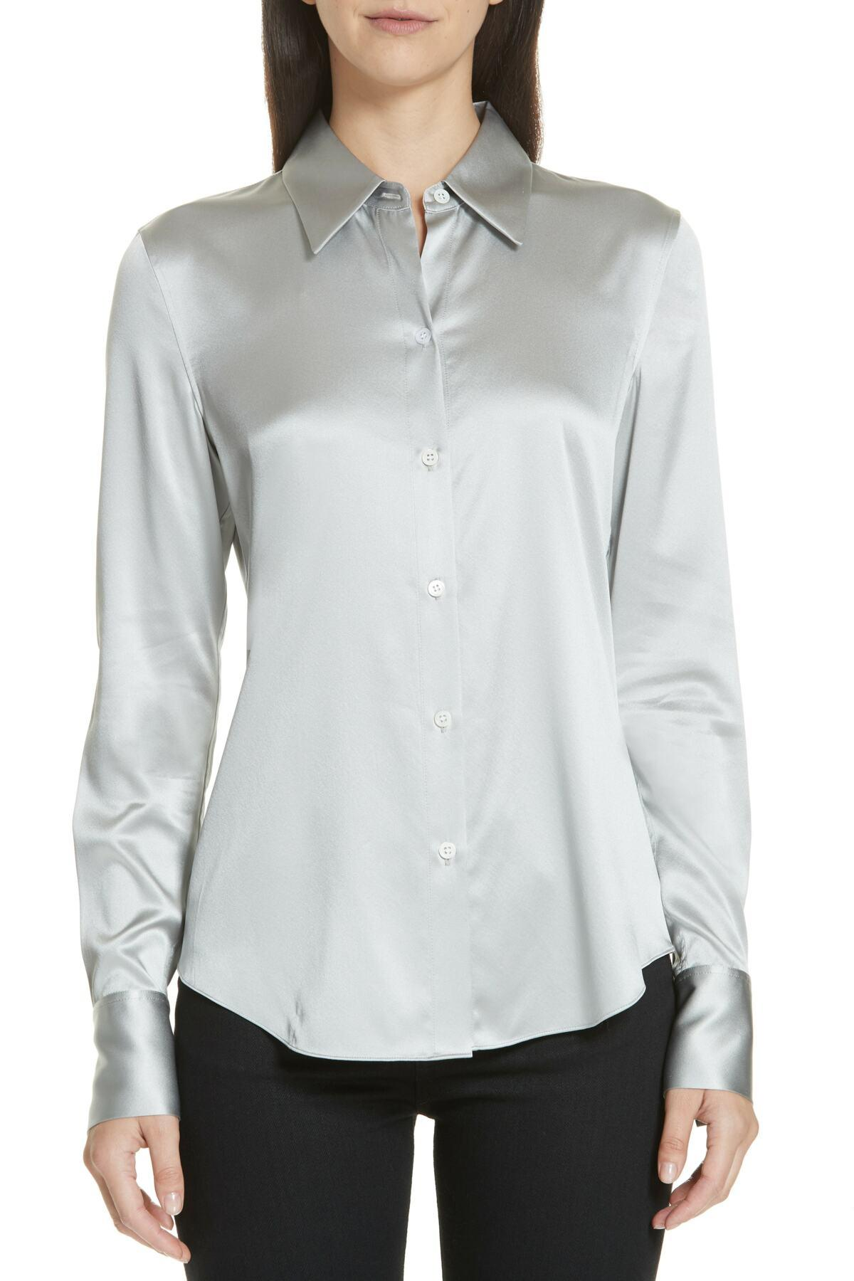 a7232b0590b Theory Perfect Fit Stretch Silk Blouse - Lyst