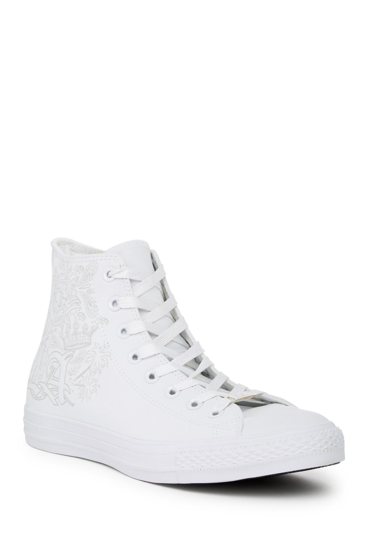2af2da8b888 Lyst - Converse Embossed High Top Sneaker in White