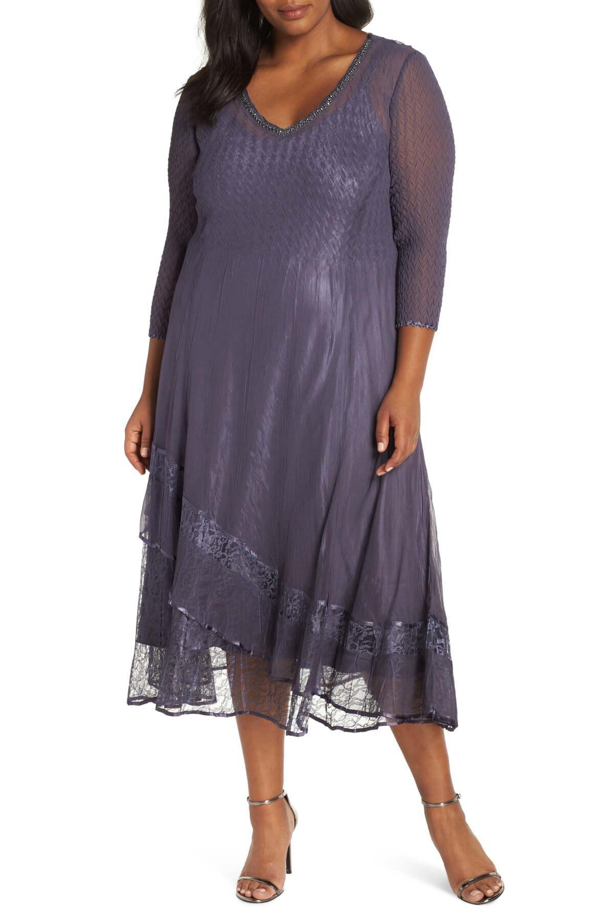 2f6cea355e Lyst - Komarov Asymmetric Lace Hem Dress (plus Size) in Purple ...