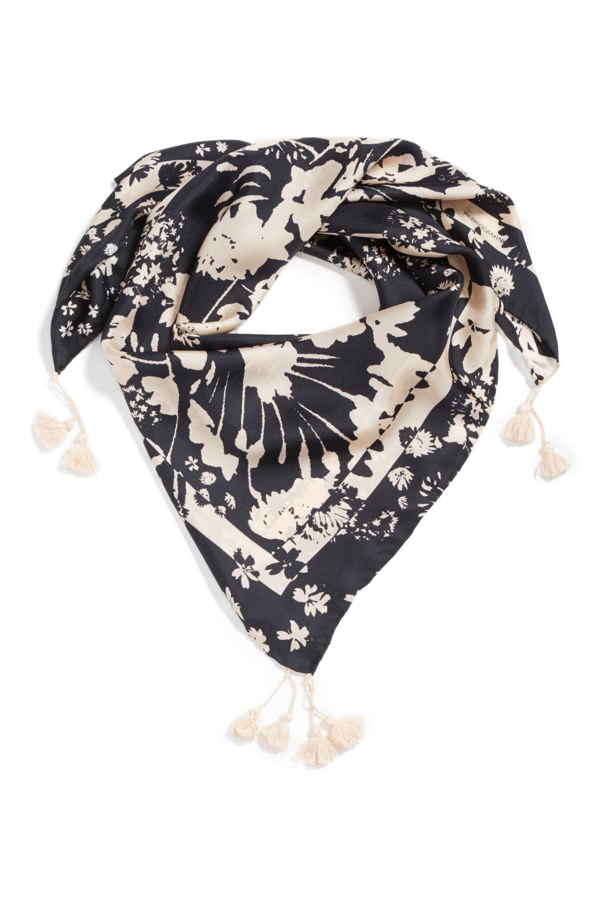 717ffc4312d8a Lyst - Rebecca Minkoff Watercolor Garden Square Silk Scarf in Black