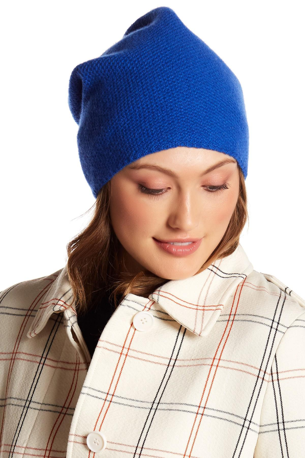 e90223174e16a Lyst - Portolano Cashmere Honeycomb Texture Hat in Blue