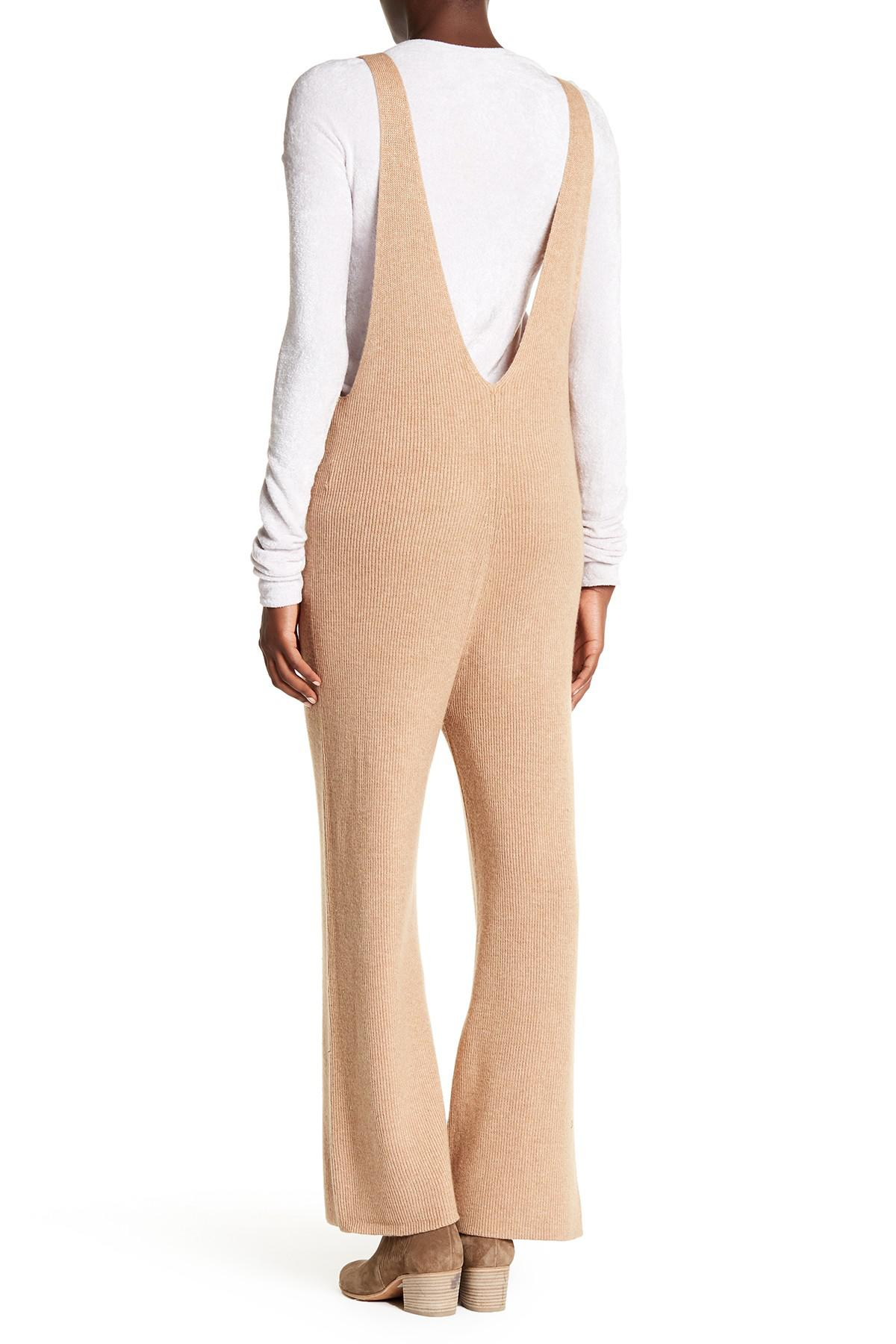 6be622d20b1 Lyst - Free People V-neck Knit Jumpsuit in Natural