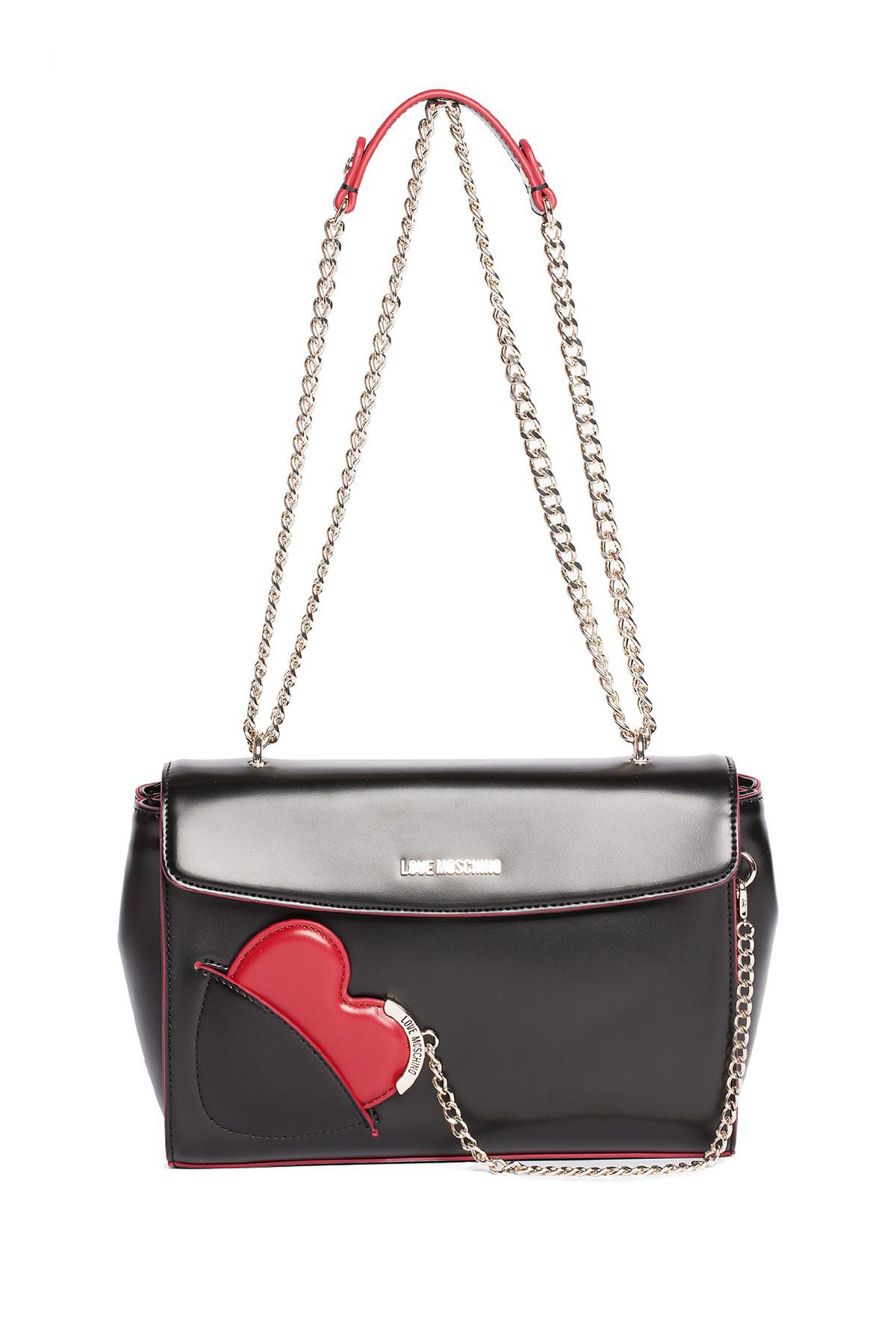 48f465eb57a02 Lyst - Love Moschino Heart Mirror Chain Drop Shoulder Bag in Black