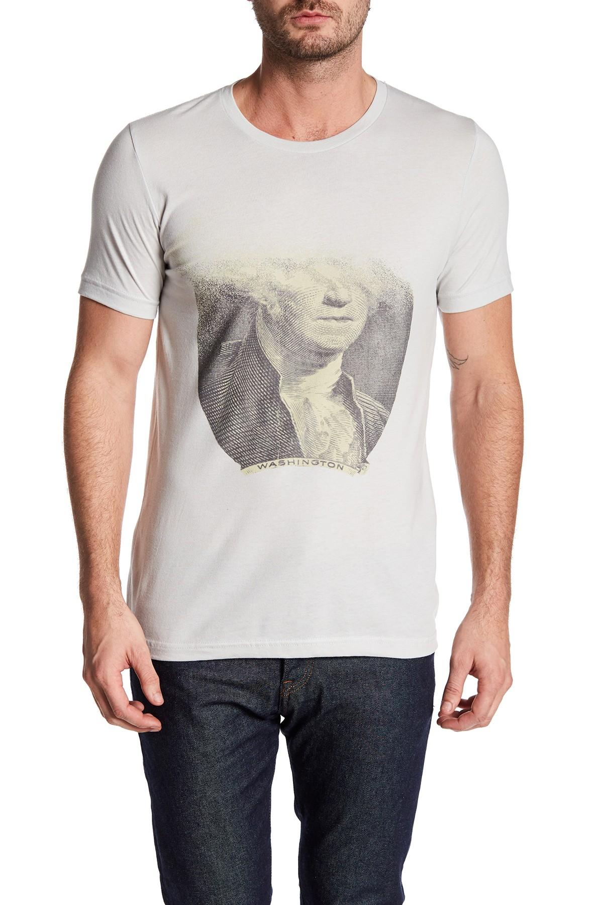 Arka dissolving dollar tee in metallic for men lyst for Silver jeans t shirts