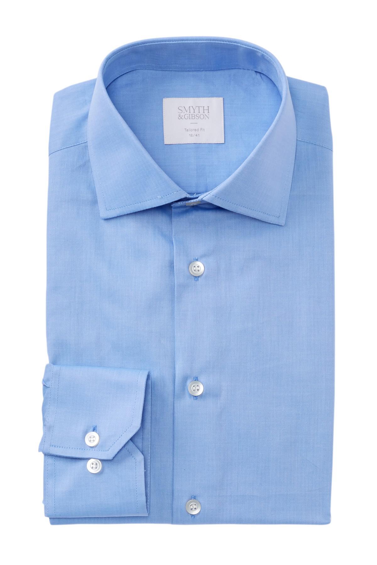 Smyth gibson micro herringbone tailored fit dress shirt for Tailored fit dress shirts