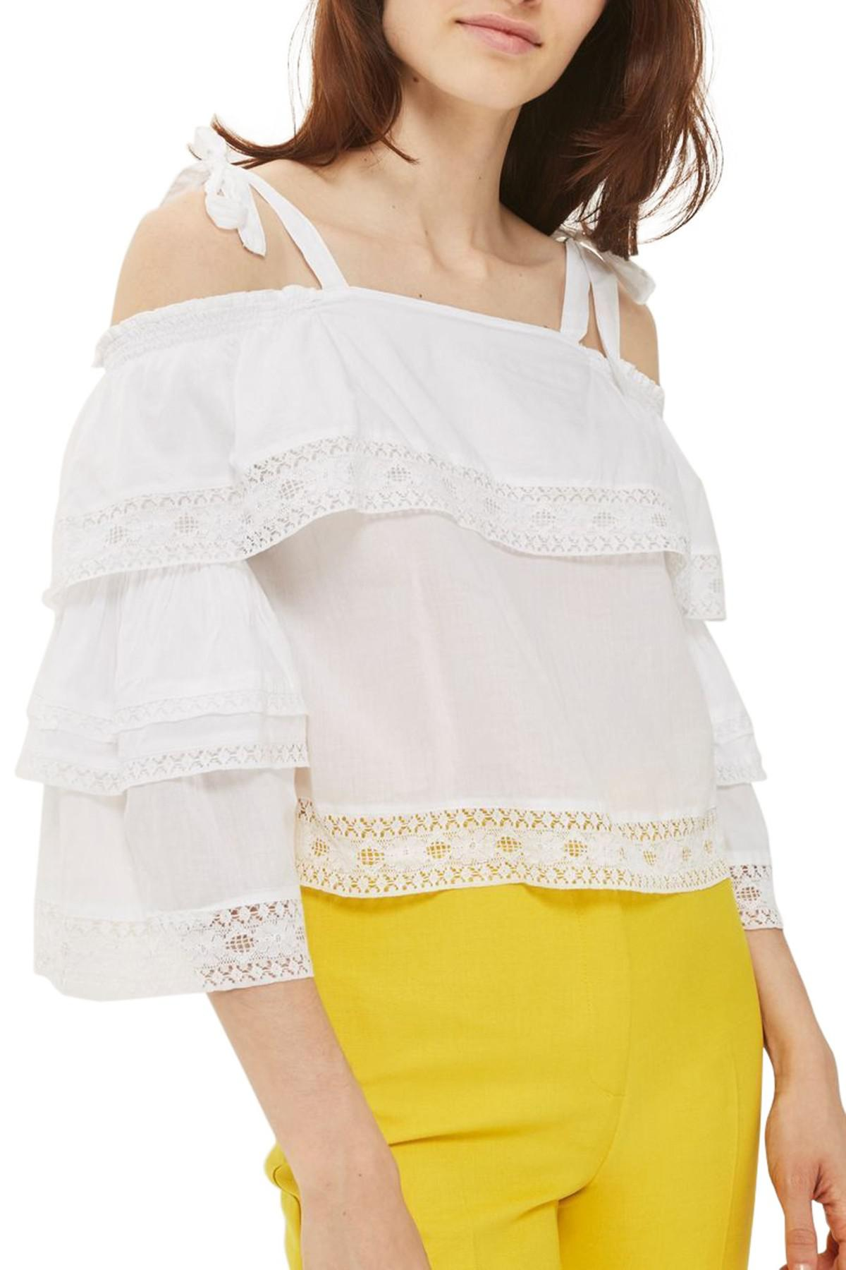 48f107ab9e40a Lyst - TOPSHOP Lace Trim Off The Shoulder Top in White