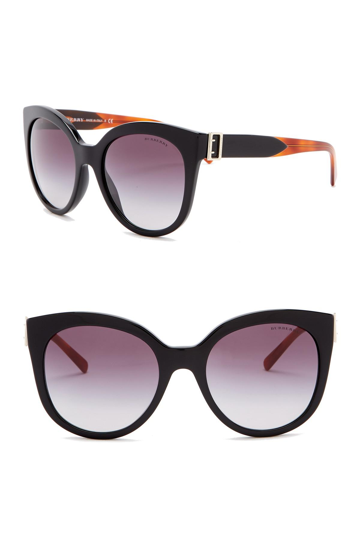 50ae2c1b5d Burberry 55mm Cat Eye Sunglasses in Black - Lyst