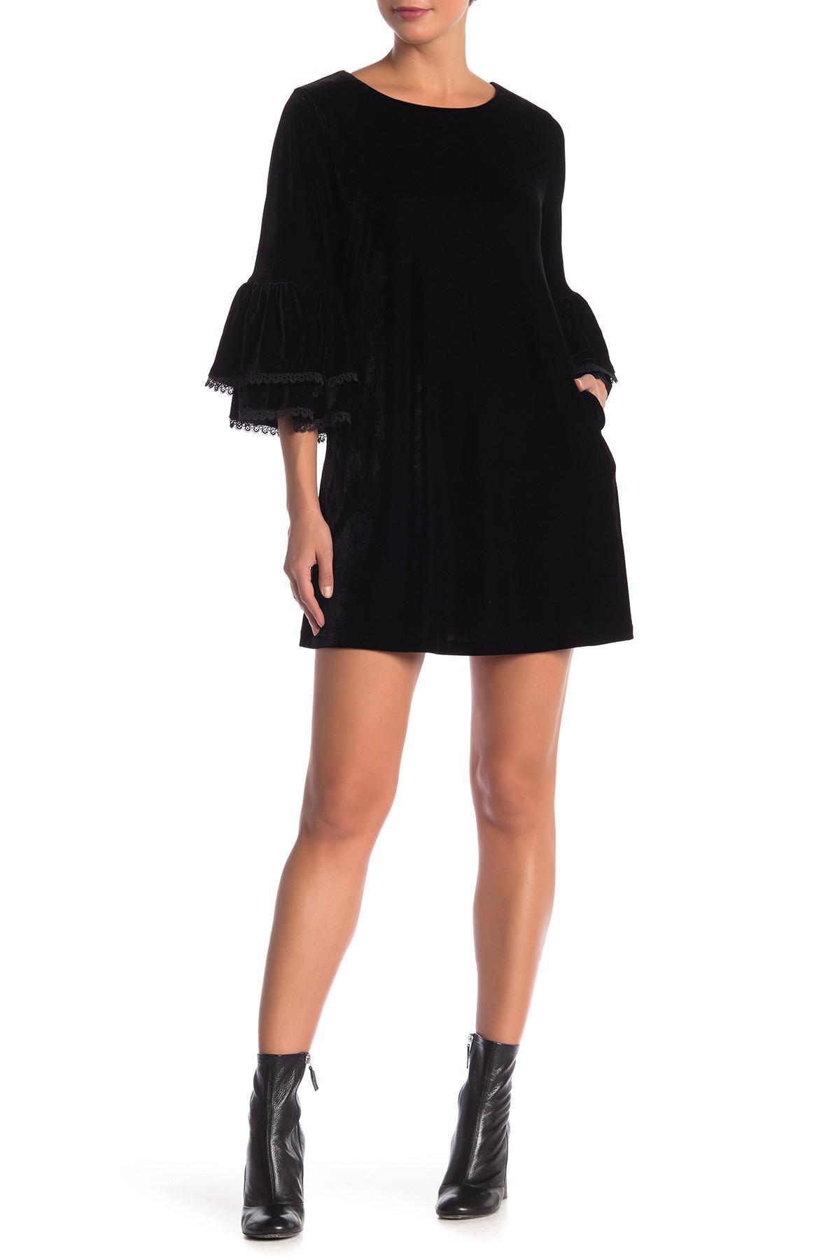 12df13a8fa9 Muche Et Muchette. Women's Black Mathilde Velvet Ruffle Bell Sleeve Dress