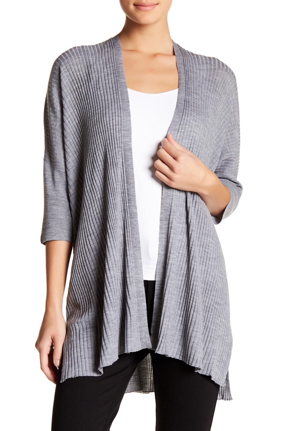 5fc847e28c39a Lyst - Eileen Fisher Boxy Ribbed Merino Wool Cardigan in Gray