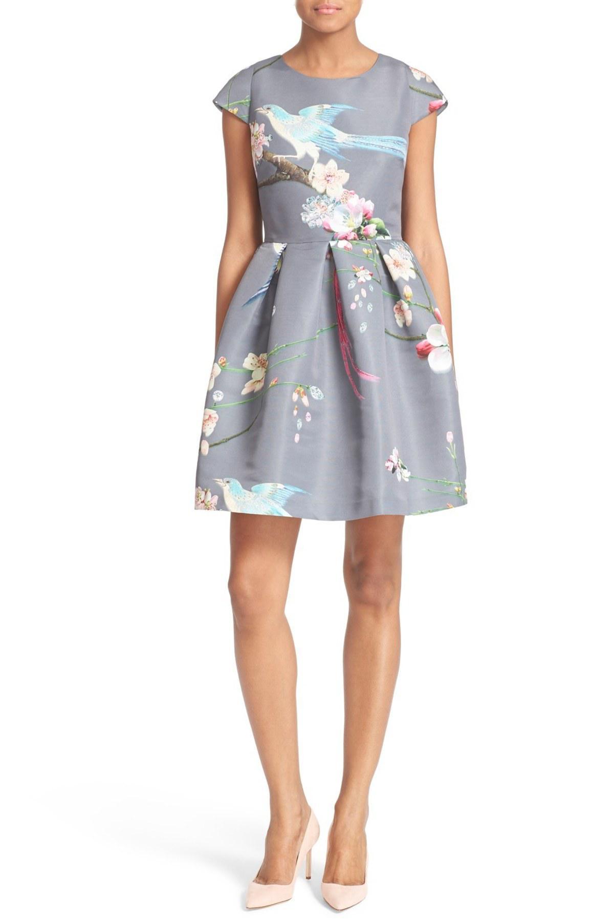 dd3b728c7314c6 Lyst - Ted Baker Zaldana Print Fit   Flare Dress in Gray