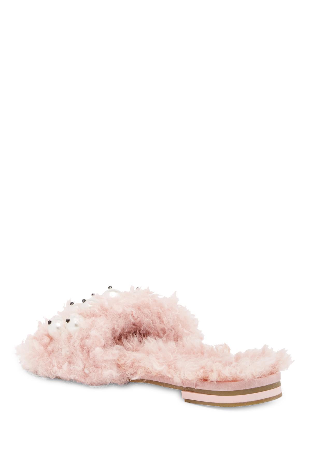fbf4e6bc463 Lyst - Cape Robbin Evelyn Faux Fur Slide Sandal in Purple