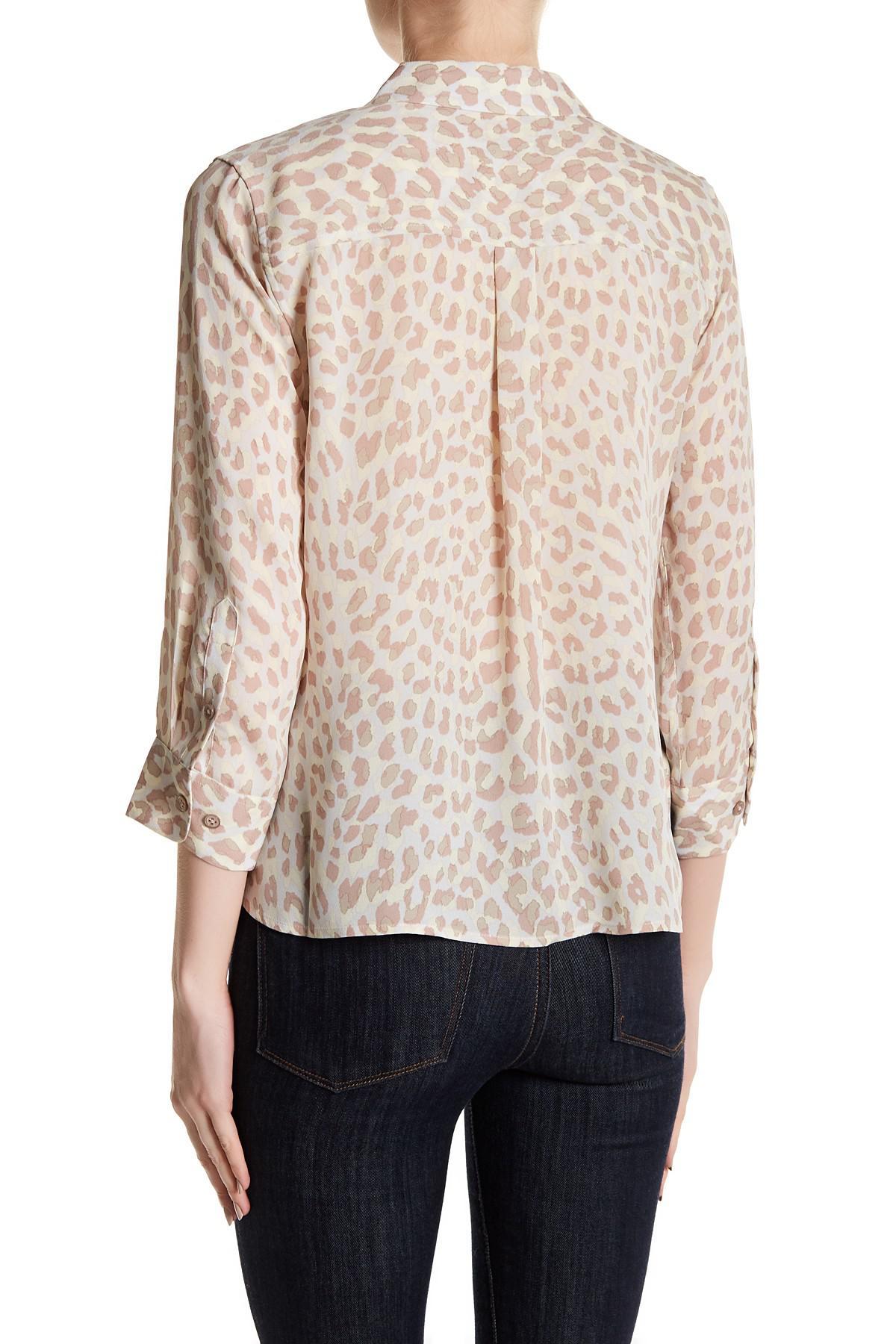 062c3752a0 Lyst - Equipment Signature Crop Leopard Print Silk Shirt