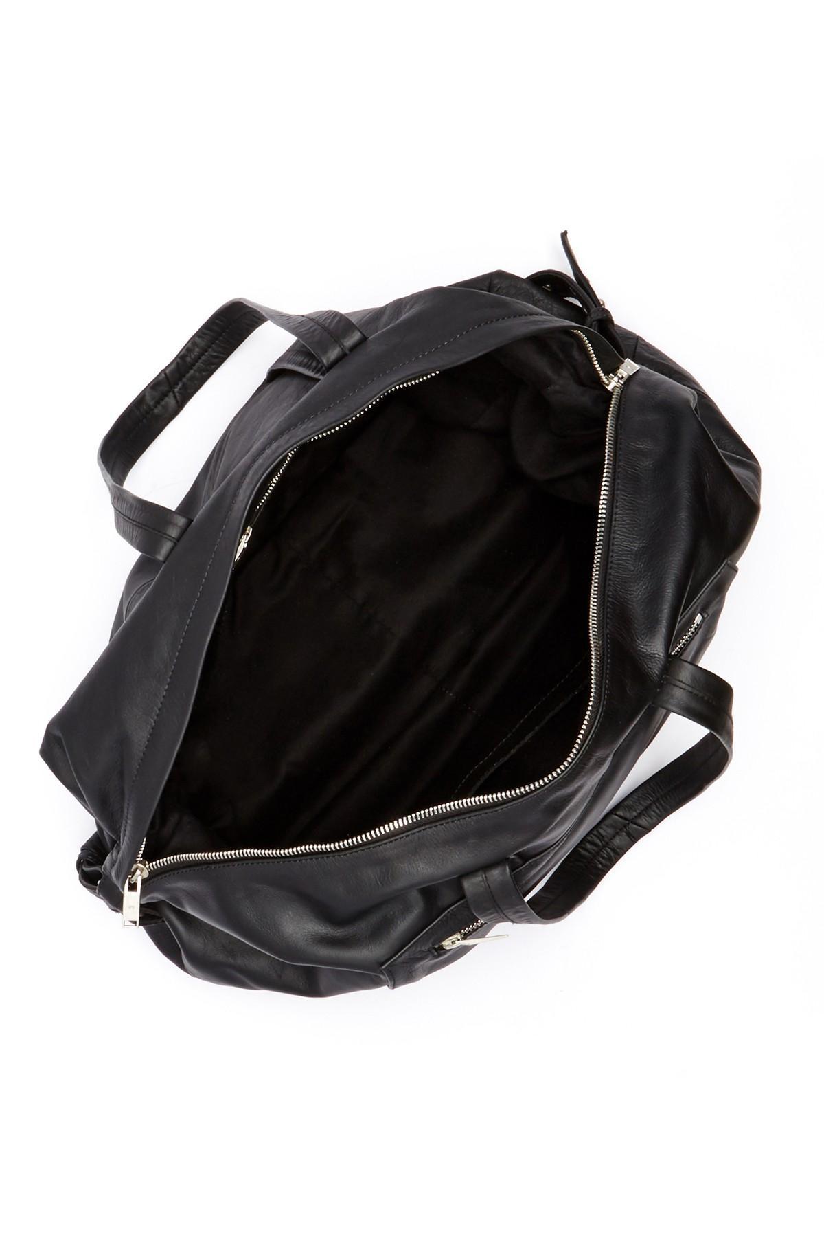 Junk De Luxe Dirk Genuine Leather Weekend Bag In Black For