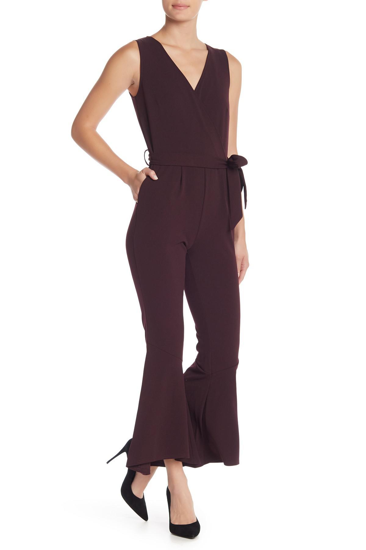 a3c3c5d8f6e Lyst - Spense Surplice Scuba Waist Tie Jumpsuit in Purple
