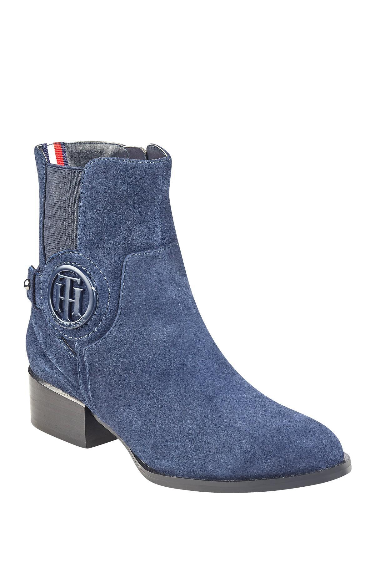 97e0b4490a0f Lyst - Tommy Hilfiger Mavrick Block Heel Ankle Bootie in Blue