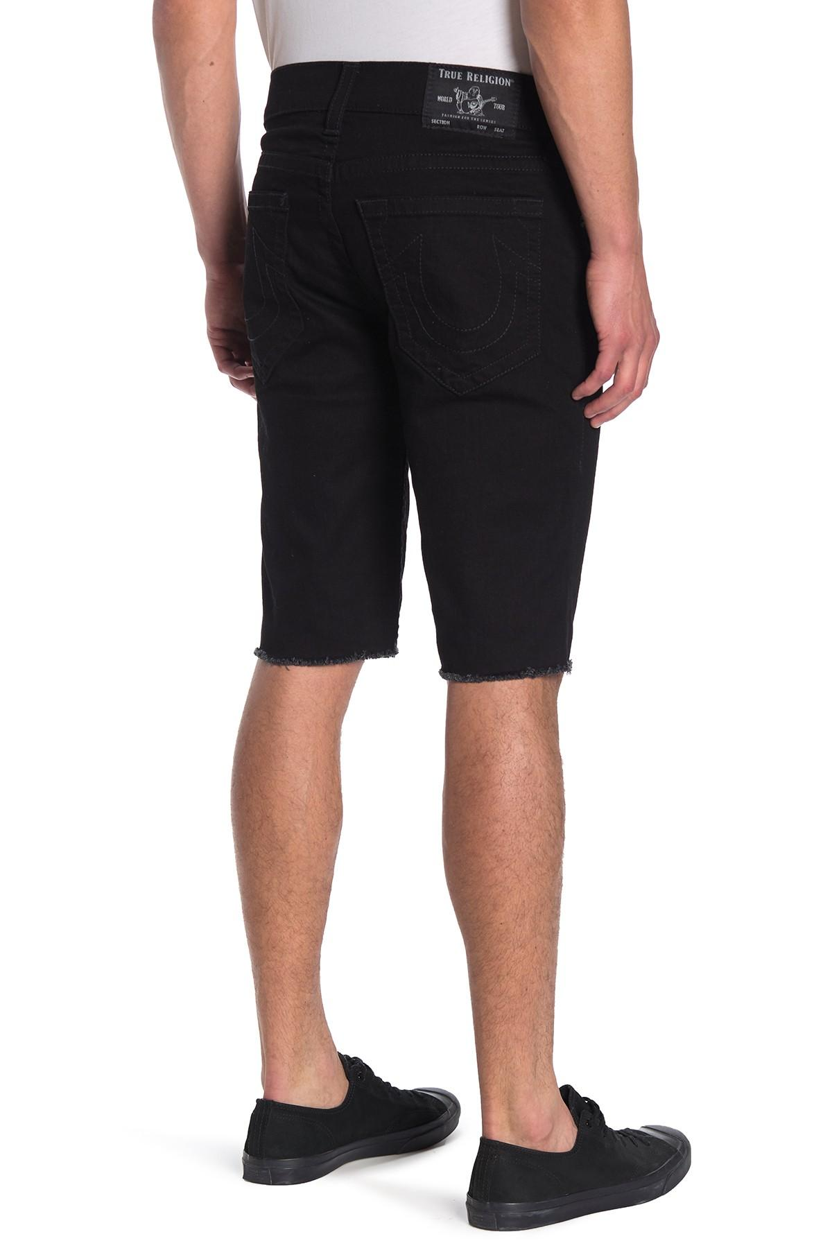 9d5d63b17 True Religion - Black Ricky Core Frayed Denim Shorts for Men - Lyst. View  fullscreen