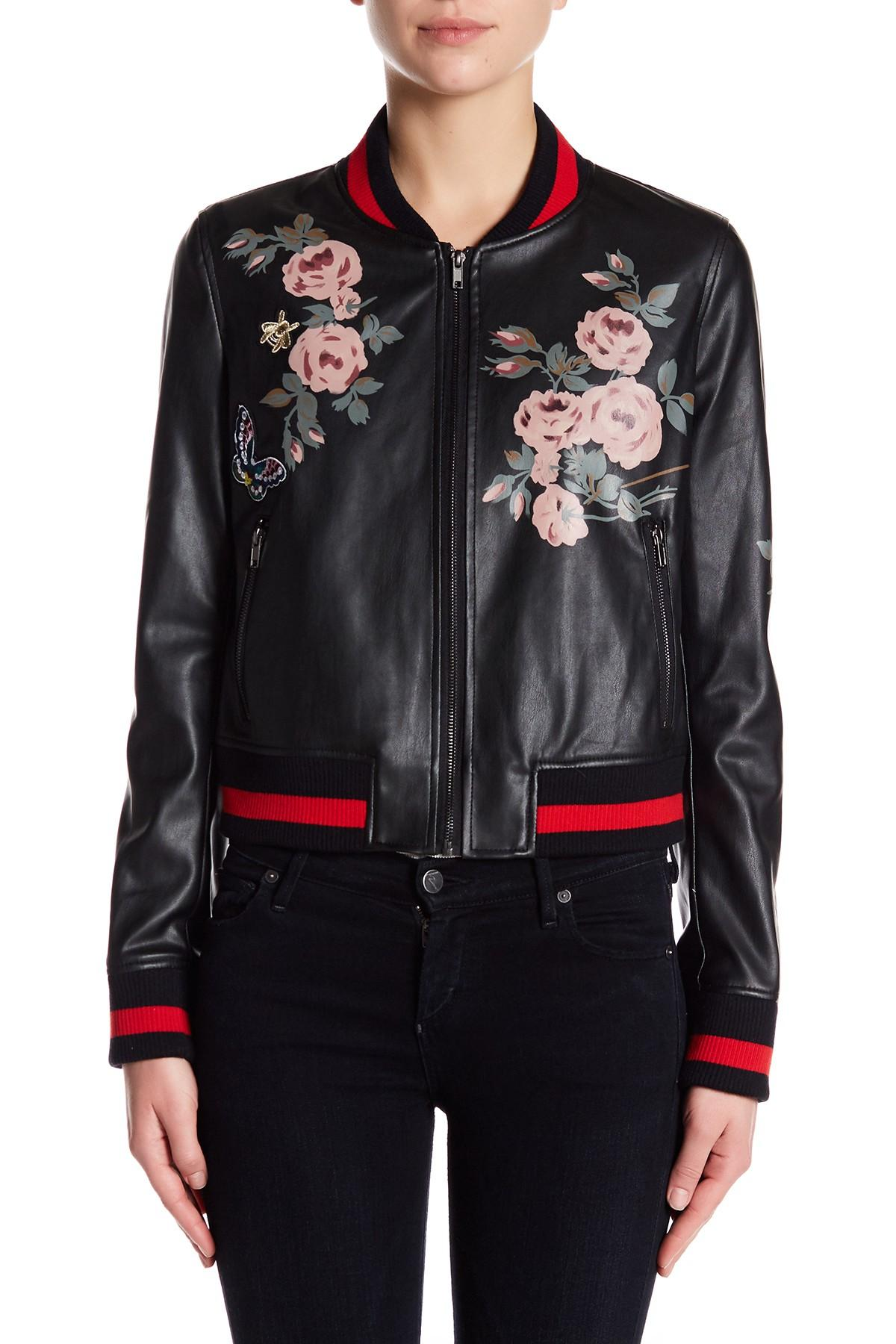 0a595522f54 Lyst - Bagatelle Floral Painted Bomber Jacket in Black