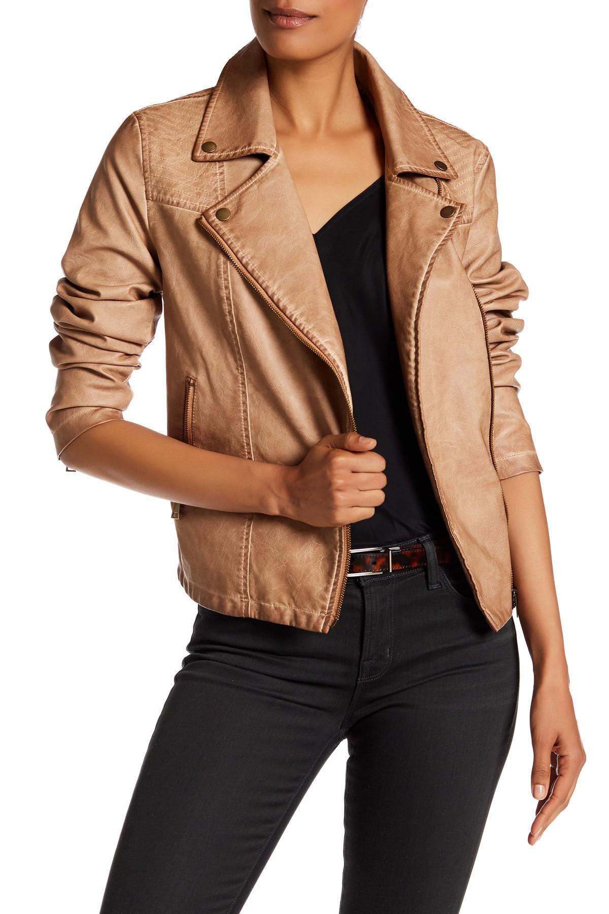 Bagatelle Faux Leather Zip Moto Jacket Lyst
