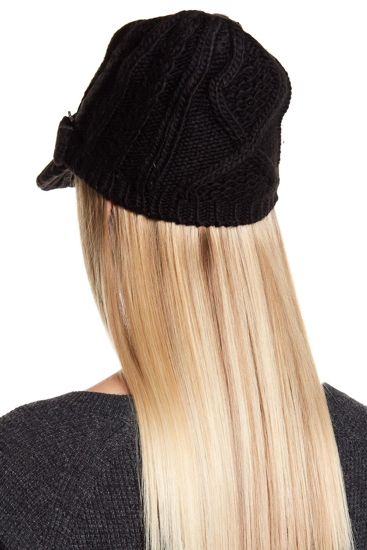 354f1c7230 ... good lyst michael michael kors classic cable knit news boy hat in black  99c26 1830c ...