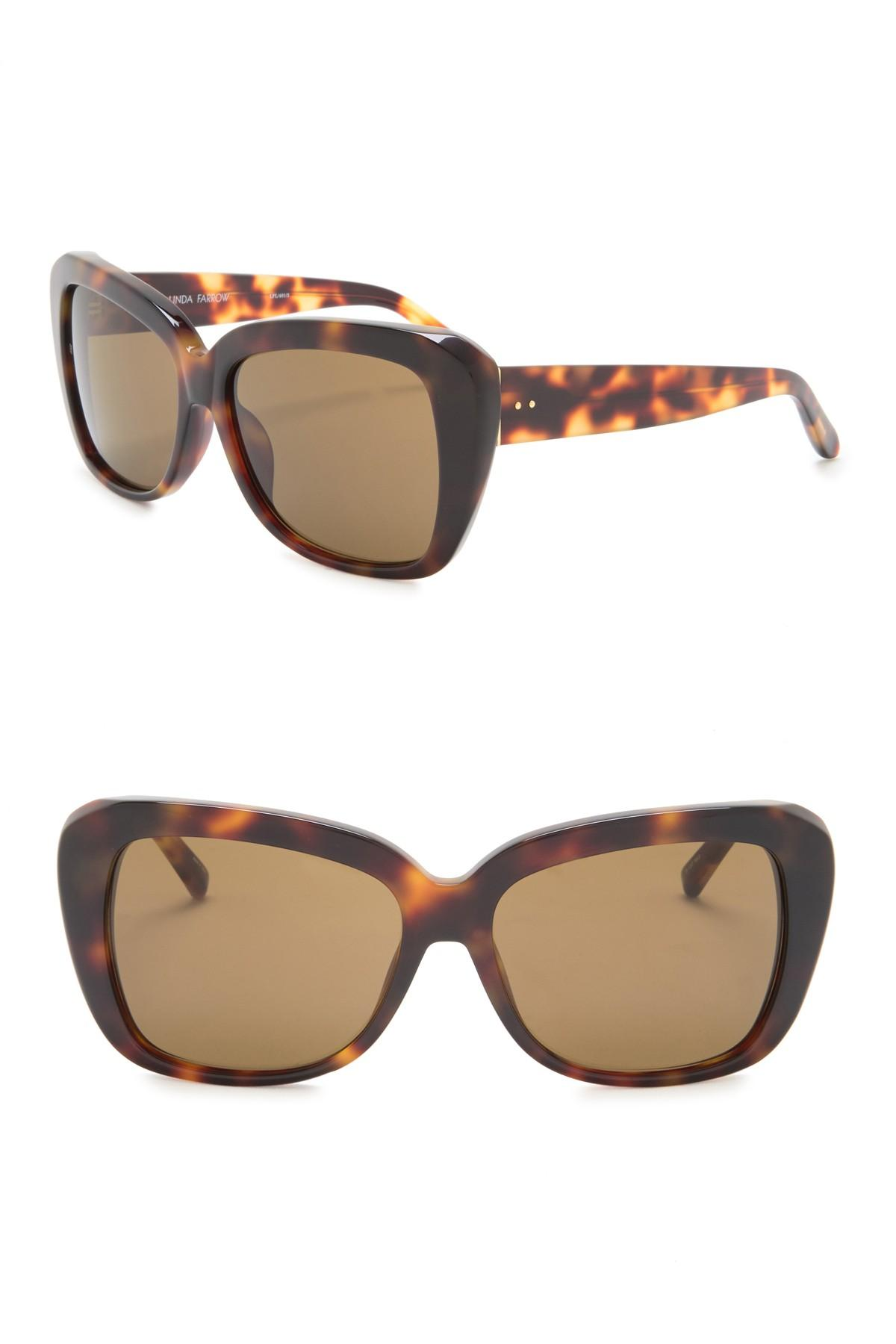 3eb435013b Lyst - Linda Farrow 57mm Squared Cat Eye Sunglasses in Brown