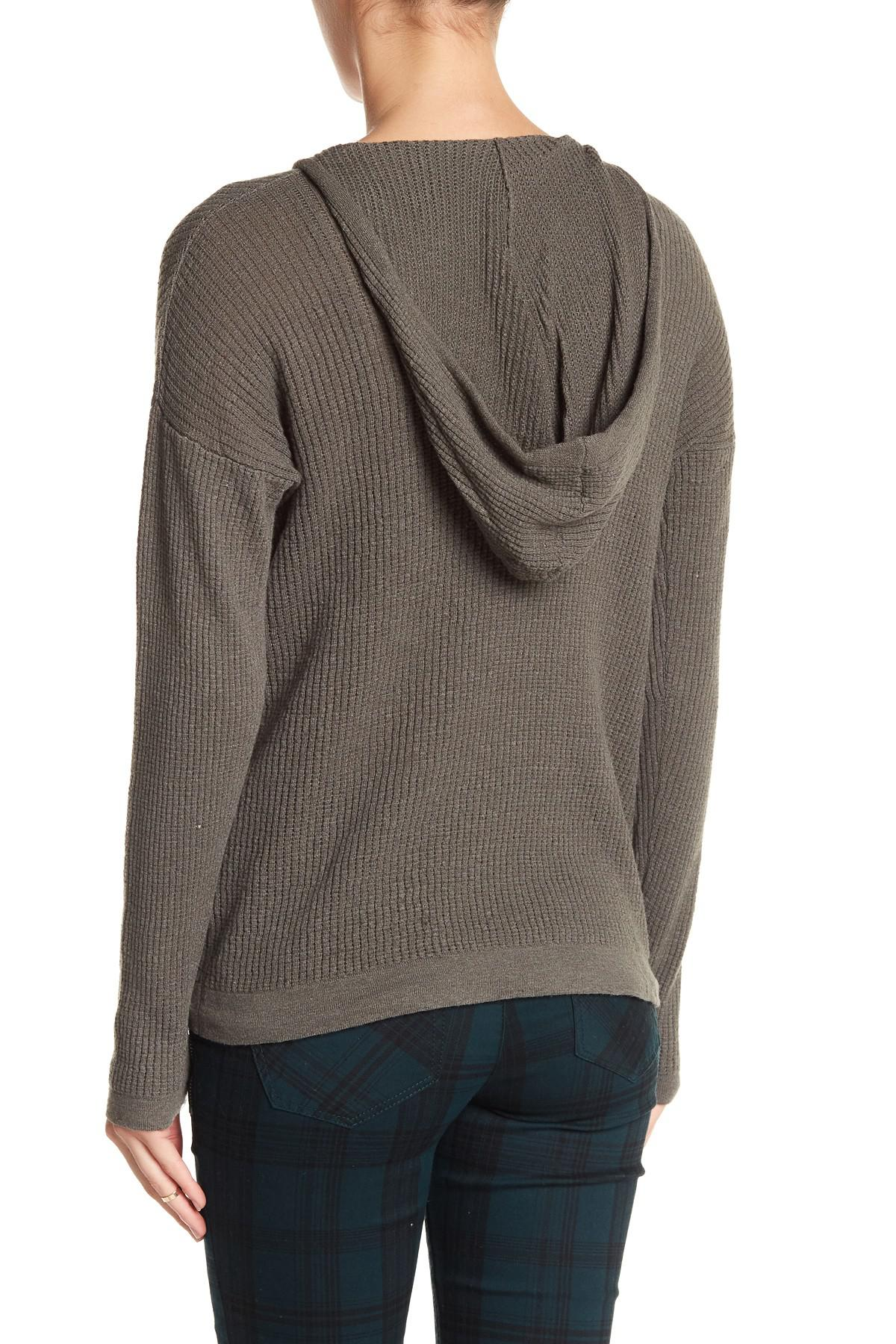 Democracy Hooded Knit V-neck Sweater in Gray | Lyst