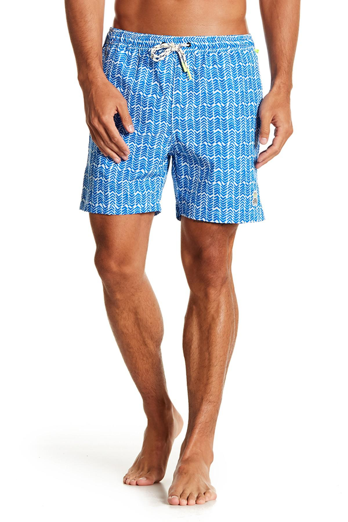 ccdc696010b93 Lyst - Psycho Bunny Watermark Herringbone Print Swim Trunks in Blue ...