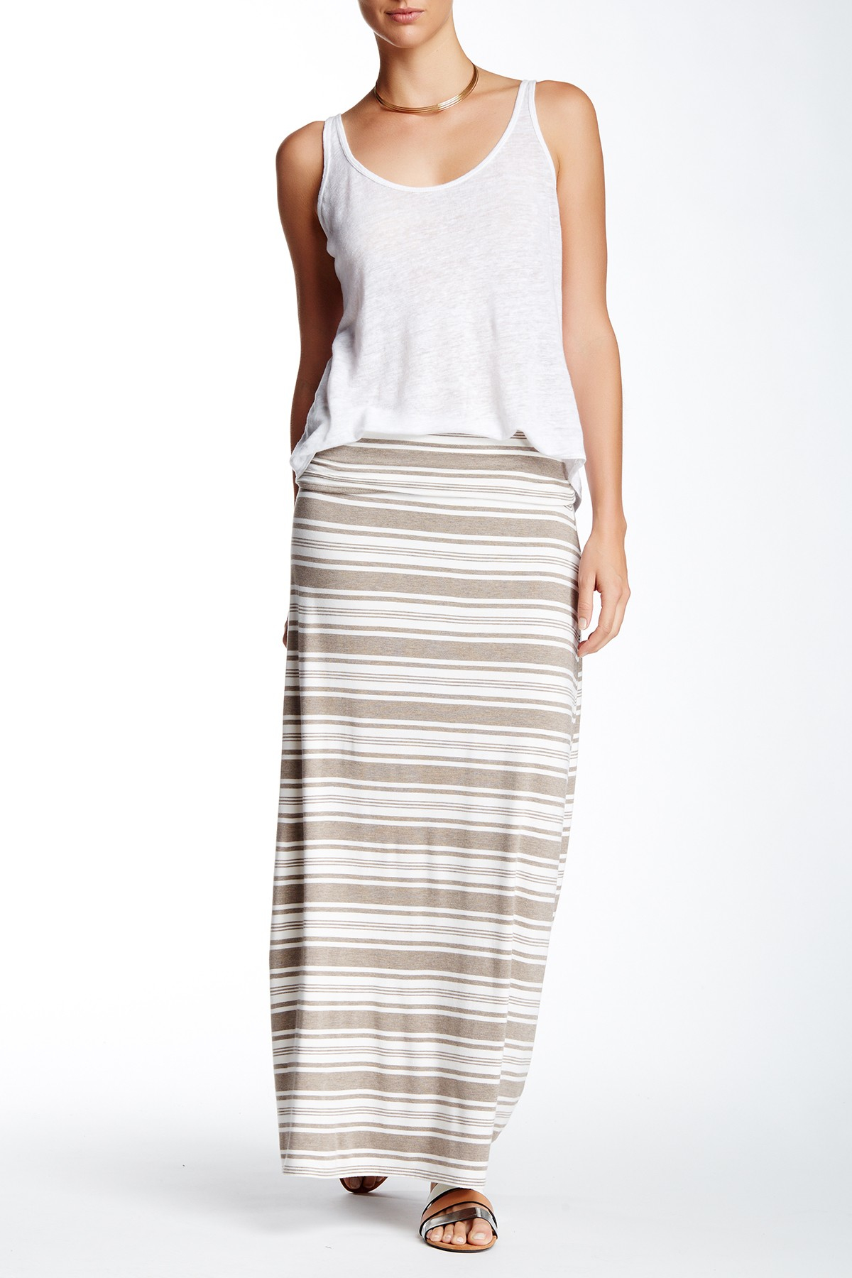 max studio stripe maxi skirt in multicolor htsivtrs